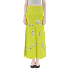 Arrow Line Sign Circle Flat Curve Maxi Skirts