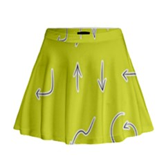 Arrow Line Sign Circle Flat Curve Mini Flare Skirt