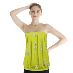 Arrow Line Sign Circle Flat Curve Strapless Top