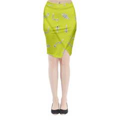 Arrow Line Sign Circle Flat Curve Midi Wrap Pencil Skirt