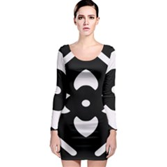 Pattern Background Long Sleeve Bodycon Dress
