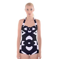 Pattern Background Boyleg Halter Swimsuit