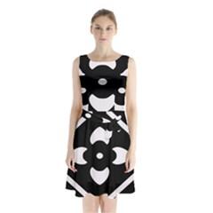 Pattern Background Sleeveless Chiffon Waist Tie Dress