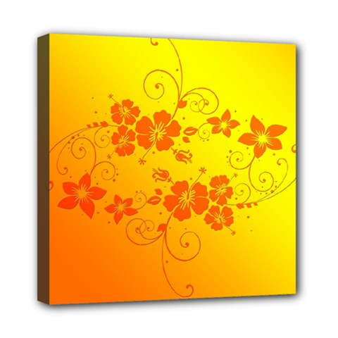 Flowers Floral Design Flora Yellow Mini Canvas 8  X 8