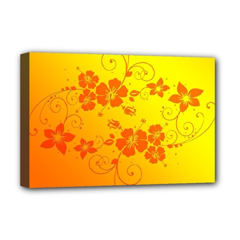 Flowers Floral Design Flora Yellow Deluxe Canvas 18  X 12