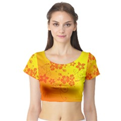 Flowers Floral Design Flora Yellow Short Sleeve Crop Top (tight Fit)