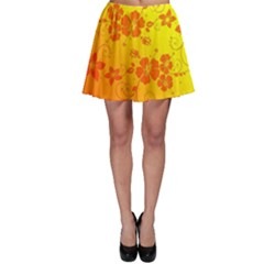 Flowers Floral Design Flora Yellow Skater Skirt