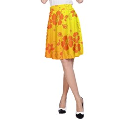 Flowers Floral Design Flora Yellow A Line Skirt