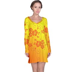 Flowers Floral Design Flora Yellow Long Sleeve Nightdress
