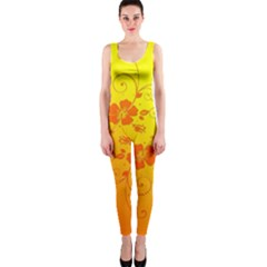Flowers Floral Design Flora Yellow Onepiece Catsuit