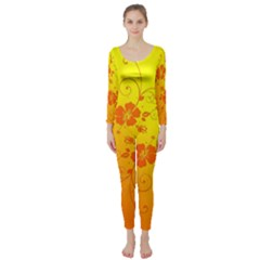 Flowers Floral Design Flora Yellow Long Sleeve Catsuit