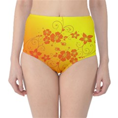 Flowers Floral Design Flora Yellow High Waist Bikini Bottoms
