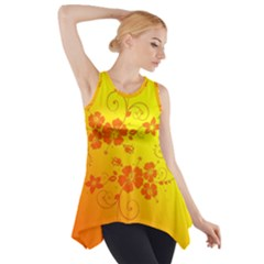 Flowers Floral Design Flora Yellow Side Drop Tank Tunic