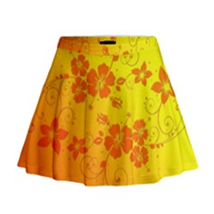 Flowers Floral Design Flora Yellow Mini Flare Skirt