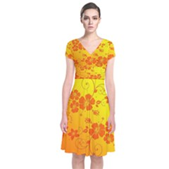 Flowers Floral Design Flora Yellow Short Sleeve Front Wrap Dress