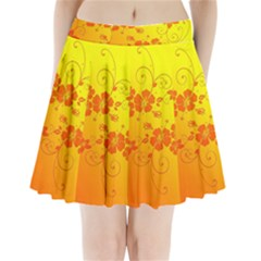 Flowers Floral Design Flora Yellow Pleated Mini Skirt