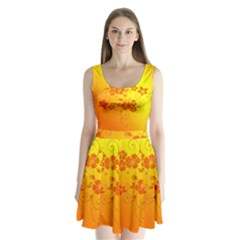 Flowers Floral Design Flora Yellow Split Back Mini Dress