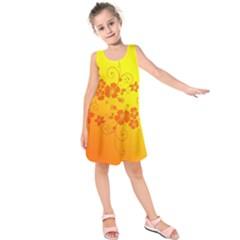 Flowers Floral Design Flora Yellow Kids  Sleeveless Dress