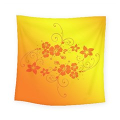 Flowers Floral Design Flora Yellow Square Tapestry (small)