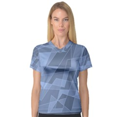 Lines Shapes Pattern Web Creative Women s V Neck Sport Mesh Tee