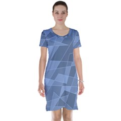 Lines Shapes Pattern Web Creative Short Sleeve Nightdress