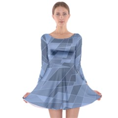 Lines Shapes Pattern Web Creative Long Sleeve Skater Dress