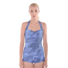 Lines Shapes Pattern Web Creative Boyleg Halter Swimsuit
