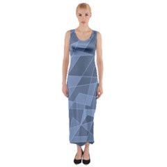 Lines Shapes Pattern Web Creative Fitted Maxi Dress