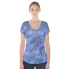 Lines Shapes Pattern Web Creative Short Sleeve Front Detail Top