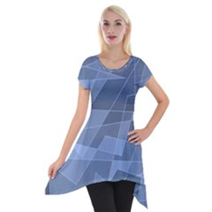 Lines Shapes Pattern Web Creative Short Sleeve Side Drop Tunic