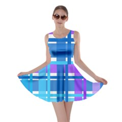 Gingham Pattern Blue Purple Shades Skater Dress