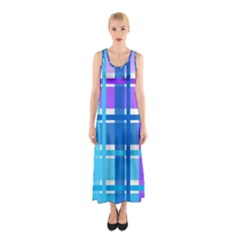 Gingham Pattern Blue Purple Shades Sleeveless Maxi Dress