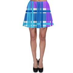 Gingham Pattern Blue Purple Shades Skater Skirt