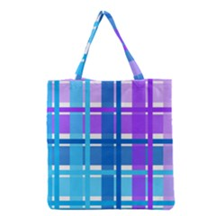 Gingham Pattern Blue Purple Shades Grocery Tote Bag