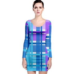Gingham Pattern Blue Purple Shades Long Sleeve Bodycon Dress