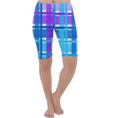 Gingham Pattern Blue Purple Shades Cropped Leggings