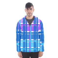 Gingham Pattern Blue Purple Shades Hooded Wind Breaker (men)