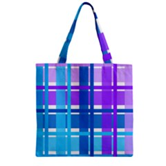 Gingham Pattern Blue Purple Shades Zipper Grocery Tote Bag