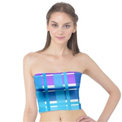 Gingham Pattern Blue Purple Shades Tube Top