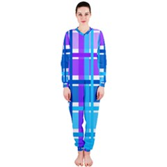 Gingham Pattern Blue Purple Shades Onepiece Jumpsuit (ladies)