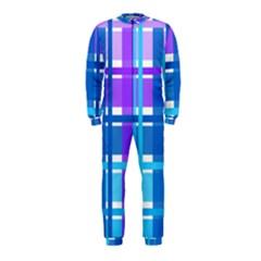Gingham Pattern Blue Purple Shades Onepiece Jumpsuit (kids)