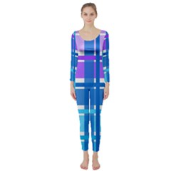 Gingham Pattern Blue Purple Shades Long Sleeve Catsuit