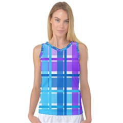 Gingham Pattern Blue Purple Shades Women s Basketball Tank Top