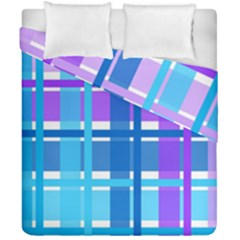 Gingham Pattern Blue Purple Shades Duvet Cover Double Side (california King Size)