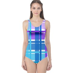 Gingham Pattern Blue Purple Shades One Piece Swimsuit