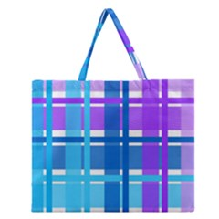Gingham Pattern Blue Purple Shades Zipper Large Tote Bag