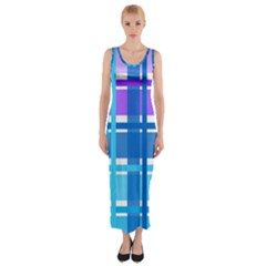 Gingham Pattern Blue Purple Shades Fitted Maxi Dress
