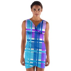 Gingham Pattern Blue Purple Shades Wrap Front Bodycon Dress