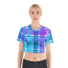 Gingham Pattern Blue Purple Shades Cotton Crop Top