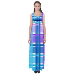 Gingham Pattern Blue Purple Shades Empire Waist Maxi Dress